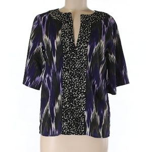 Michael Kors Dark Purple Printed 3/4 Sleeve Blouse